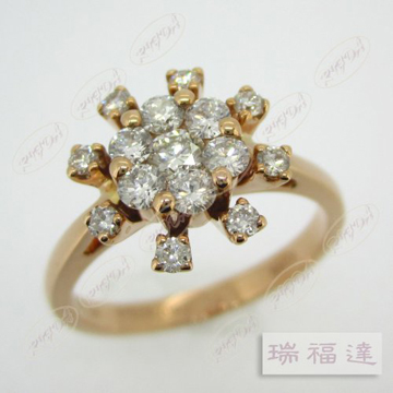 18K玫瑰金钻戒,星光璀璨