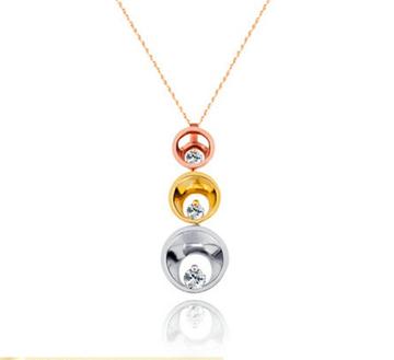 C&F时尚彩金钻石吊坠