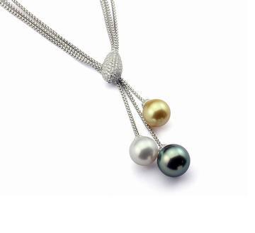 18K金镶钻珍珠项链