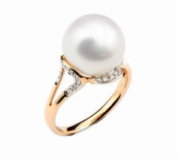 18K金镶钻珍珠戒指