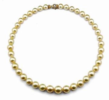 14K金镶钻珍珠项链