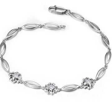 白18K金钻石手链