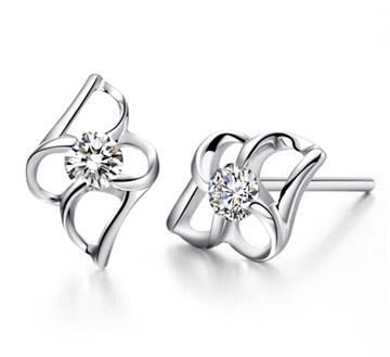 白18K金钻石耳钉