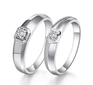 爱若明珠-白18K金钻石对戒