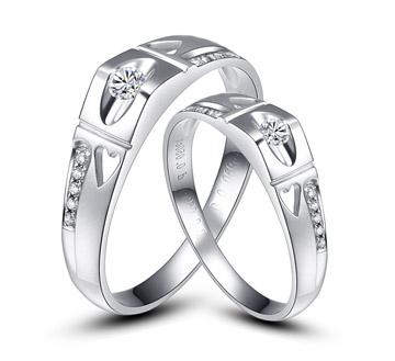 心心相印—18k白金钻石结婚对