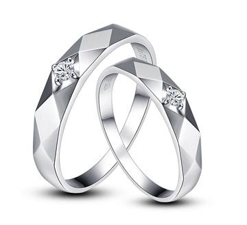悸动—18k白金钻石结婚对戒