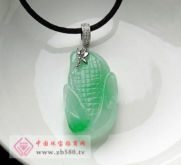 糯种飘正阳绿18K镶钻玉米挂件玉吊