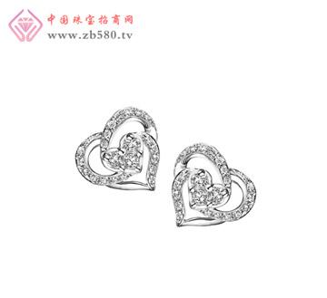 18K金心形钻石耳环