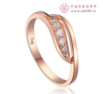 风的密语 玫瑰红18K金钻石戒指