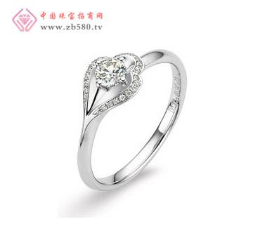 温情 18K白金钻石戒指