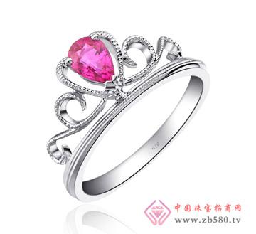 完美婚嫁皇冠18K金镶红宝石戒指