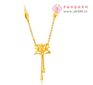 光沙荷花黄金足金项链
