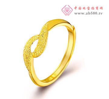 光沙丝带足金戒指