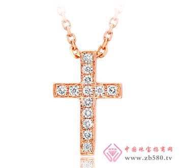 十字架18K金镶钻石项链