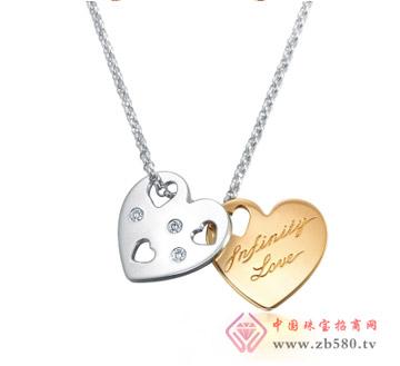 "18K分色黄金""铭心""心型钻石项链t"