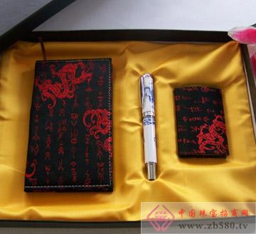 丝绸小笔记本陶瓷龙笔丝绸名片夹