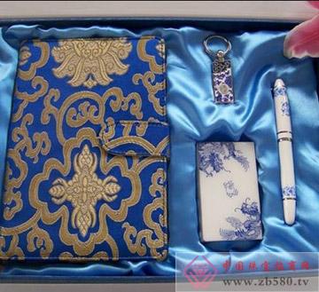 丝绸笔记本+4Gu盘+名片夹+青花烤漆