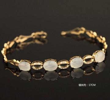 白金天然翡翠手链