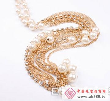 仿珍珠水钻双重项链