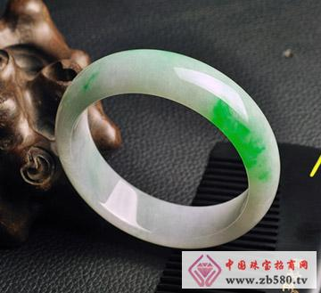 晶翠良缘--飘阳绿翡翠玉手镯