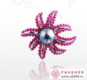 18K珍珠红宝胸针.
