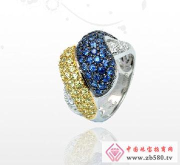18K钻彩蓝宝戒指