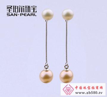 天然淡水珍珠耳环-8-9mm
