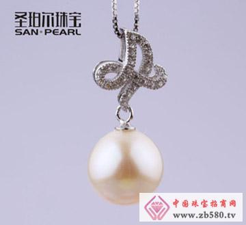 天然珍珠吊坠11-12mm