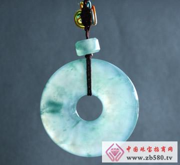 翠龙轩珠宝--带花带色翡翠平安扣