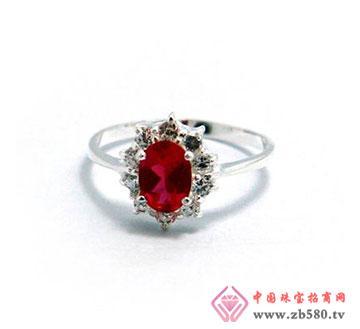 925银红宝石戒指