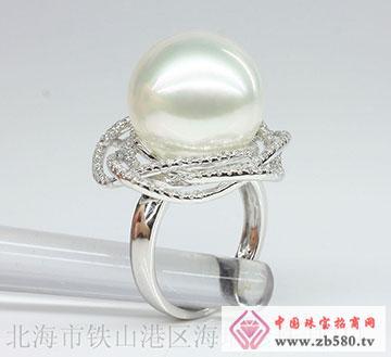 白色南洋珍珠戒指天然珍珠