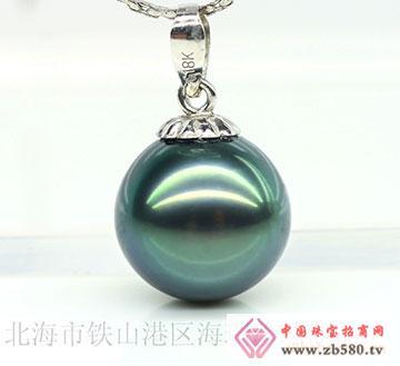 大溪地珍珠吊坠孔雀绿珍珠