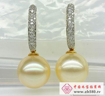 南洋金色珍珠耳环-极品无瑕