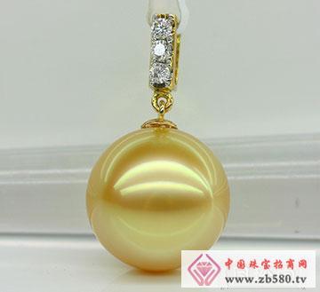 天然极品金色南洋珍珠吊坠