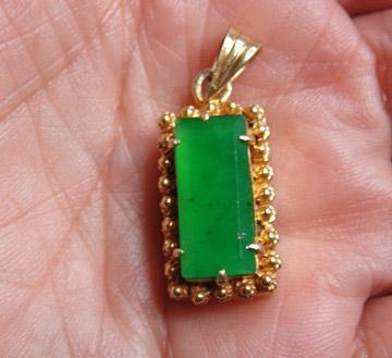 缅甸工艺铜镶嵌翡翠阳绿翠方形吊坠