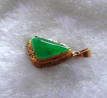 镶嵌高翠正阳绿项链坠,戒指礼品