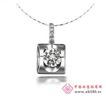铂金单独圆钻石吊坠项坠