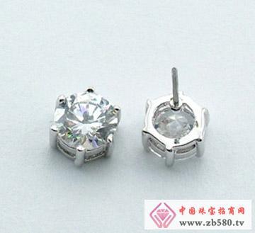 戴安娜珠宝--纯银简约时尚单锆耳钉
