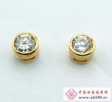 戴安娜珠宝--银镀白金包镶耳钉