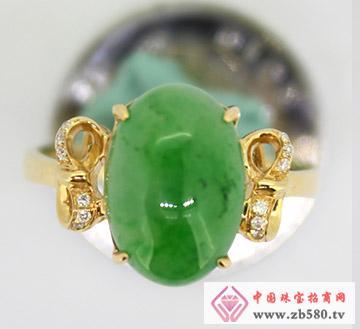 九麟珠宝--18K金翡翠镶嵌戒指02