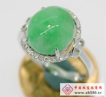 九麟珠宝--18K金翡翠镶嵌戒指04