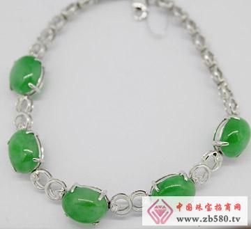 九麟珠宝--18K白金镶嵌翡翠手链
