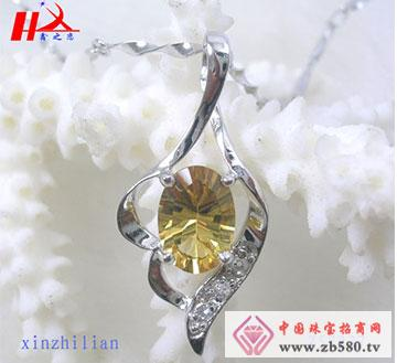 S925银天然优质黄水晶项坠