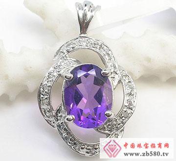 S925银紫水晶吊坠