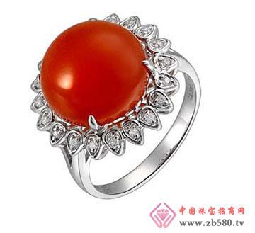 恒利洋750黄金镶嵌猇红玉髓戒指