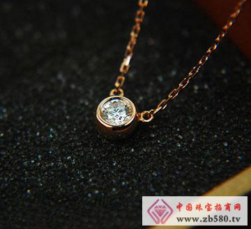 钻石吊坠单钻锁骨项链