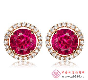 顶级红碧玺钻石耳钉彩色宝石耳环