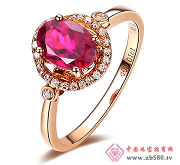 红碧玺18K玫瑰金天然彩色宝石戒指