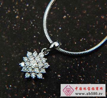 莲花18K白金玫瑰金钻石吊坠项链