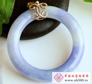 紫罗兰翡翠手镯裂痕镶嵌